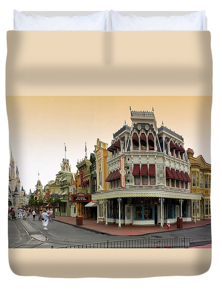 Before The Gates Open Early Morning Magic Kingdom With Castle. Duvet Cover by Thomas Woolworth