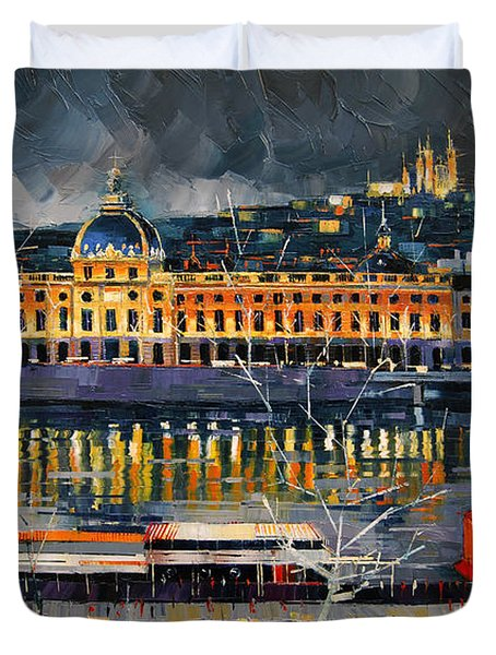 Before The Storm - View On Hotel Dieu Lyon And The Rhone France Duvet Cover