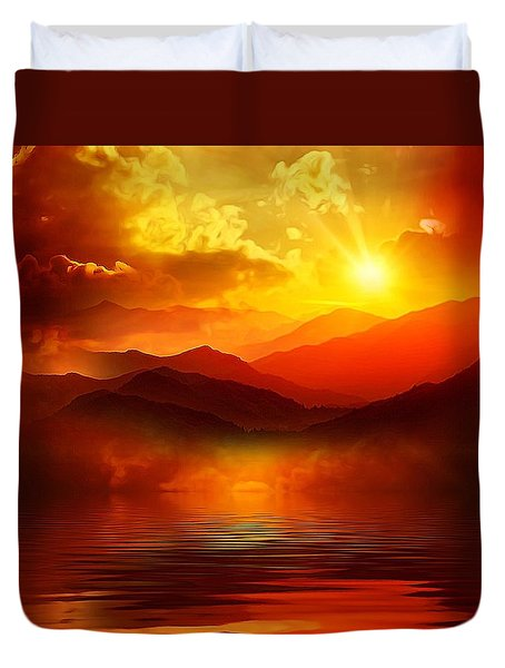 Duvet Cover featuring the mixed media Before The Sun Goes To Sleep by Gabriella Weninger - David
