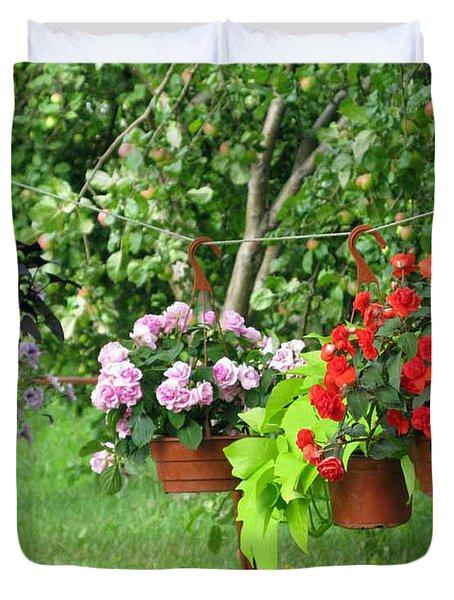 Begonias On Line Duvet Cover by Ausra Huntington nee Paulauskaite