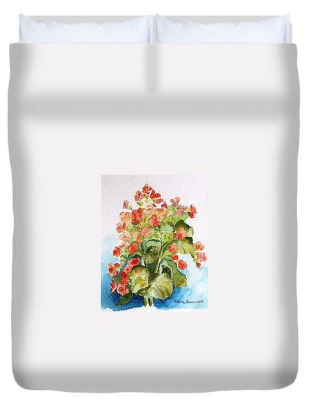 Duvet Cover featuring the painting Begonias Still Life by Geeta Biswas