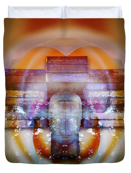 Duvet Cover featuring the digital art Behind A Rose by Rosa Cobos