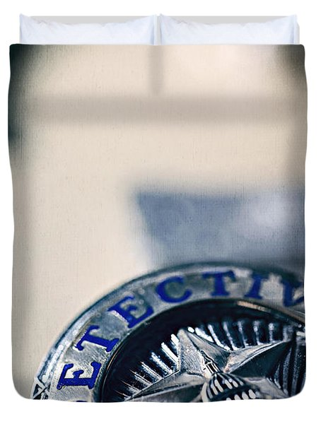 Duvet Cover featuring the photograph Behind The Badge by Trish Mistric