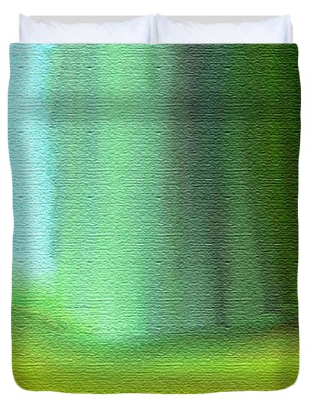 Behind The Curtain Duvet Cover by Lenore Senior