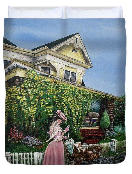 Behind The Garden Gate Duvet Cover by Linda Simon