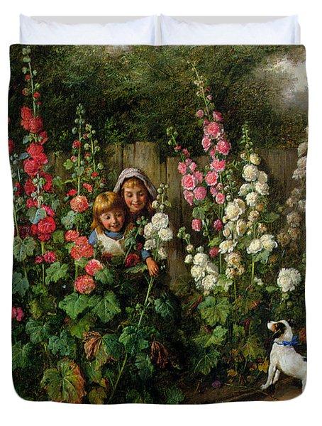 Behind The Hollyhocks Duvet Cover by Charles Hunt
