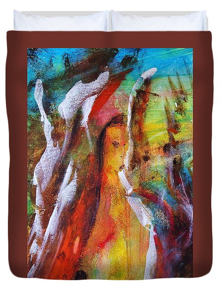 Behind The Mirror Woman Duvet Cover by Kicking Bear  Productions