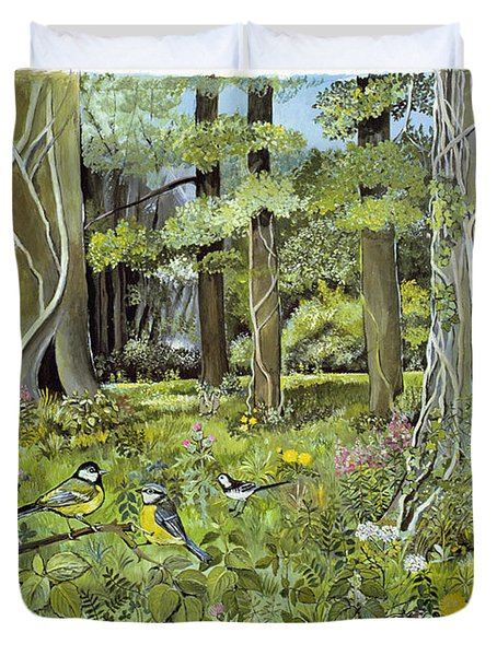 Behind The Squires, Devon Acrylic On Paper Duvet Cover