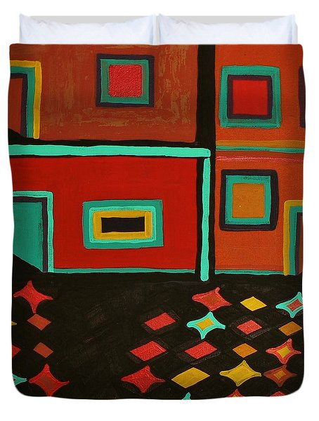 Behind Which Door Duvet Cover by Barbara St Jean