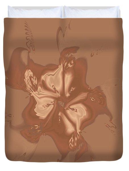 Beige Satin Morning Glory Duvet Cover