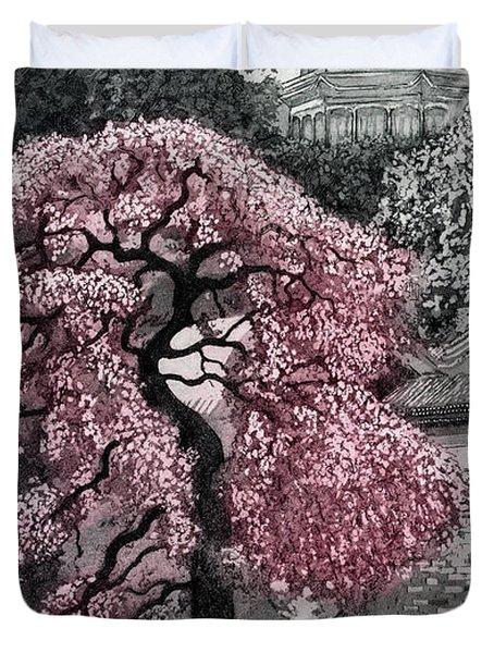 Beijing Blossom, 2012, (etching/aquatint) Duvet Cover