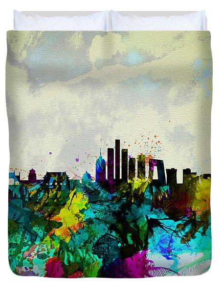 Beijing Watercolor Skyline Duvet Cover