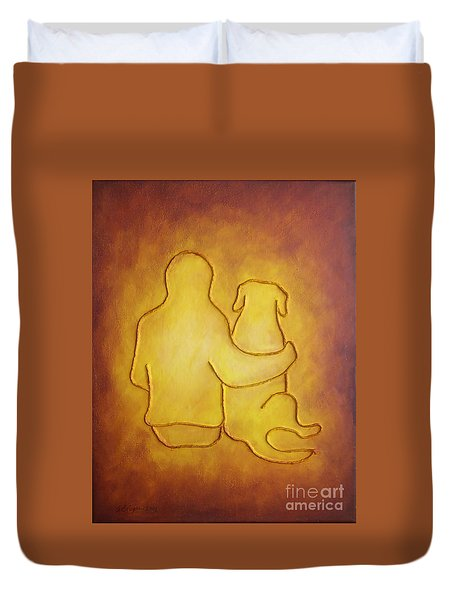 Being There 2 - Dog And Friend Duvet Cover