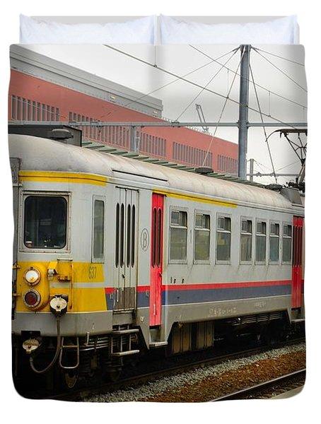 Belgium Railways Commuter Train At Brugge Railway Station Duvet Cover