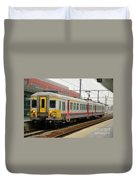 Belgium Railways Commuter Train At Brugge Railway Station Duvet Cover