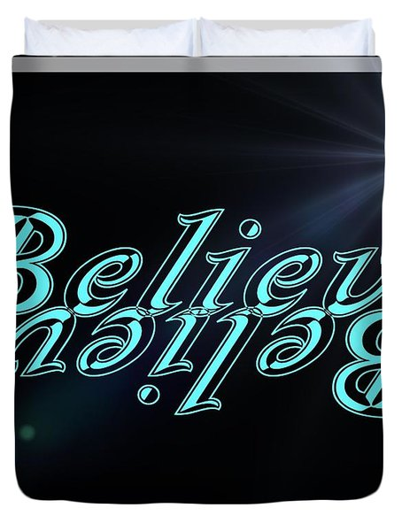 Believe On Black With Sun Rays Duvet Cover