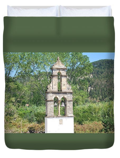 Duvet Cover featuring the photograph Bell Tower 1584 1 by George Katechis