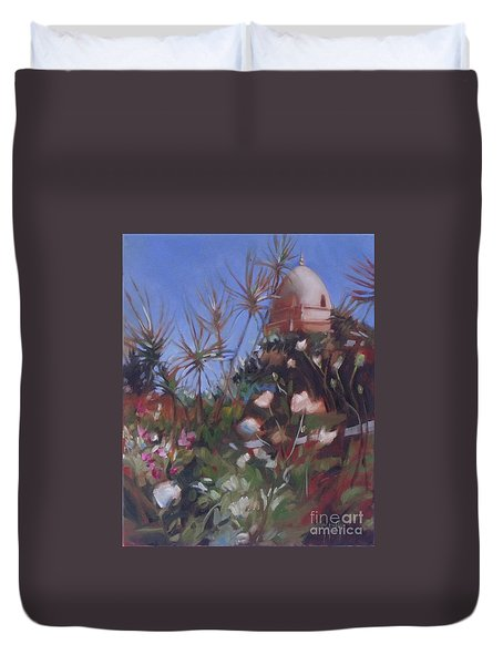 Bell Tower At Carmel Mission Duvet Cover by Mary Hubley