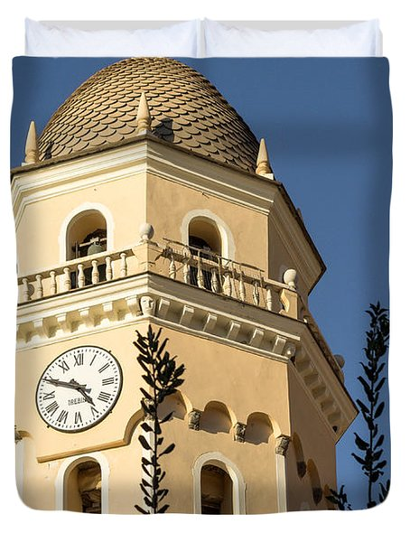 Bell Tower Of Vernazza Duvet Cover
