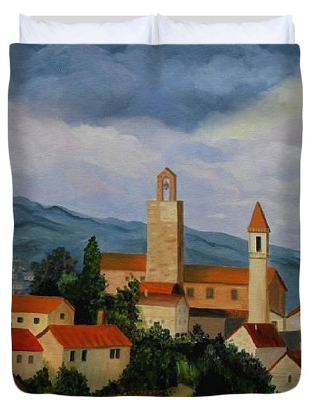 Bell Tower Of Vinci Duvet Cover
