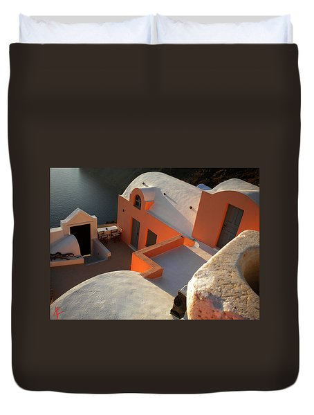 Duvet Cover featuring the photograph Bella Santorini Hause by Colette V Hera  Guggenheim