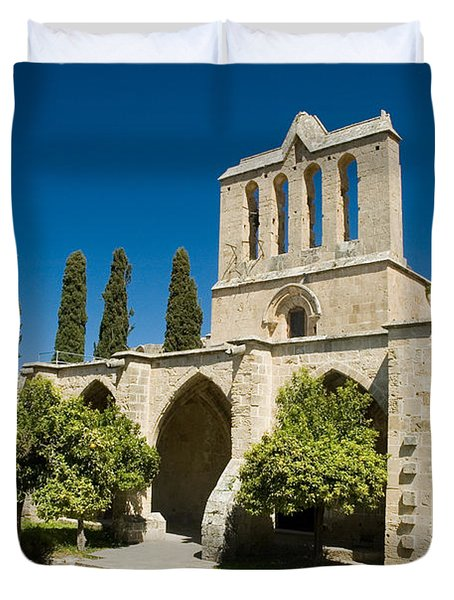 Duvet Cover featuring the photograph Bellapais Abbey Kyrenia by Jeremy Voisey