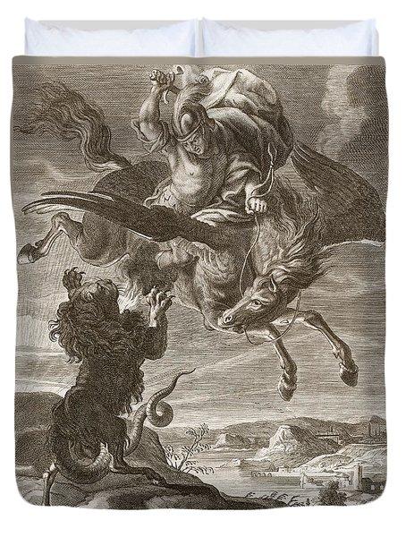 Bellerophon Fights The Chimaera, 1731 Duvet Cover by Bernard Picart