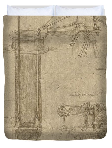 Bellows Perspectograph With Man Examining Inside From Atlantic Codex Duvet Cover by Leonardo Da Vinci