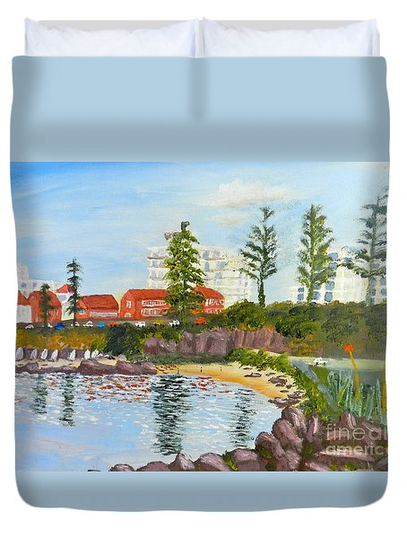 Duvet Cover featuring the painting Belmore Basin From The North Sea Wall by Pamela  Meredith