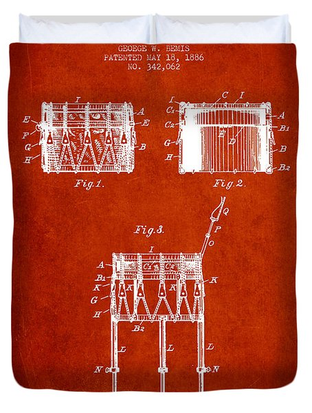 Bemis Snare Drum Patent Drawing From 1886 - Red Duvet Cover by Aged Pixel