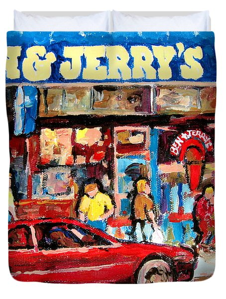 Ben And Jerrys Ice Cream Parlor Duvet Cover by Carole Spandau