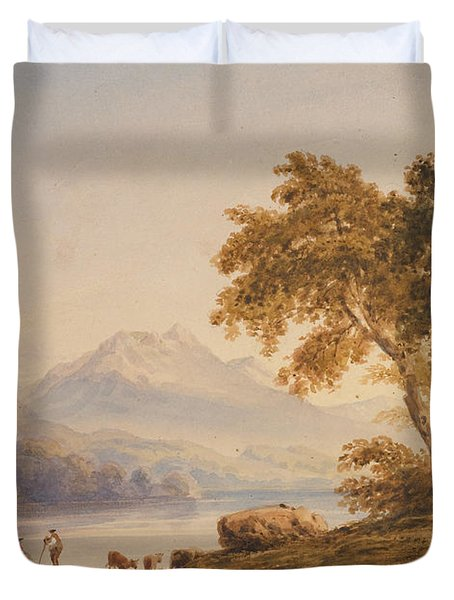 Ben Vorlich And Loch Lomond Duvet Cover by Anthony Vandyke Copley Fielding