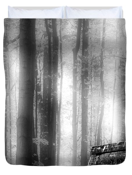 Bench In Michigan Woods Duvet Cover