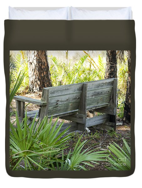 Bench In Nature Duvet Cover