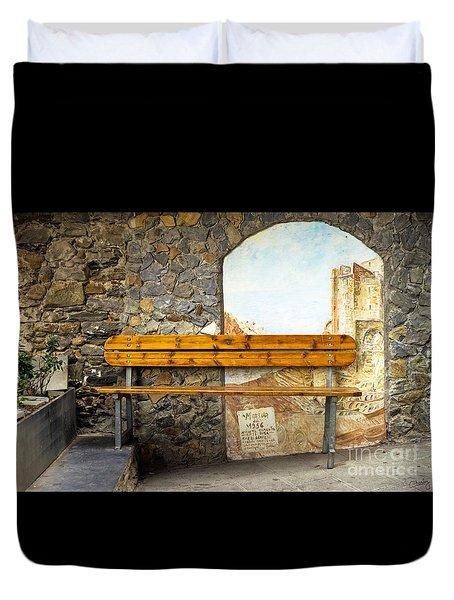 Bench In Riomaggiore Duvet Cover