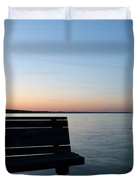 Bench In Silhouette Duvet Cover