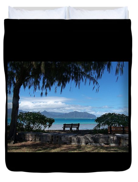 Bench Of Kaneohe Bay Hawaii Duvet Cover by Jewels Blake Hamrick