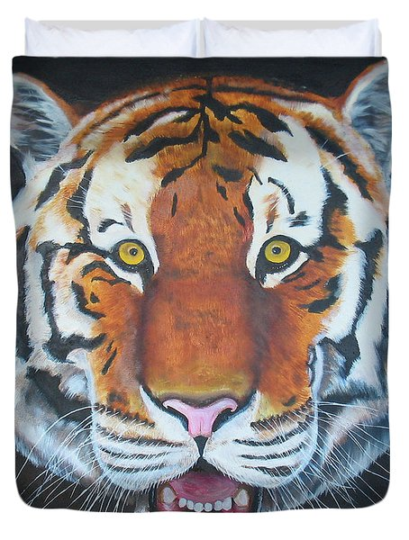 Duvet Cover featuring the painting Bengal Tiger by Thomas J Herring
