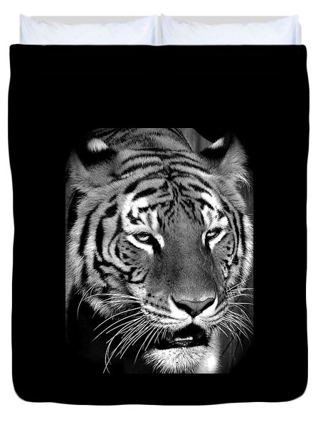 Bengal Tiger In Black And White Duvet Cover by Venetia Featherstone-Witty
