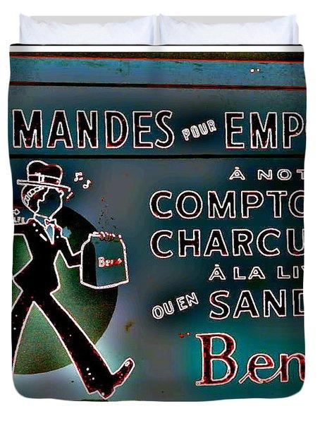 Ben's Deli Restaurant Fameux Comptoir Charcuterie Smoked Meat Take-0ut Montreal Memorabilia Duvet Cover by Carole Spandau