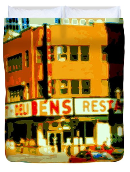 Ben's Restaurant Vintage Montreal Landmarks Nostagic Memories And Scenes Of A By Gone Era Duvet Cover by Carole Spandau