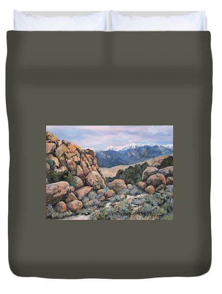 Duvet Cover featuring the painting Benton by Donna Tucker