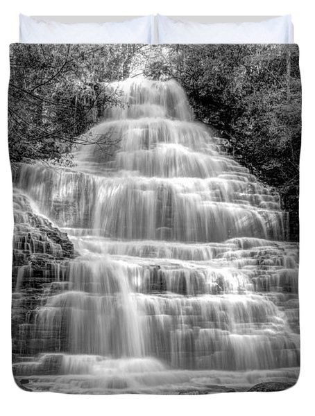 Benton Falls In Black And White Duvet Cover by Debra and Dave Vanderlaan