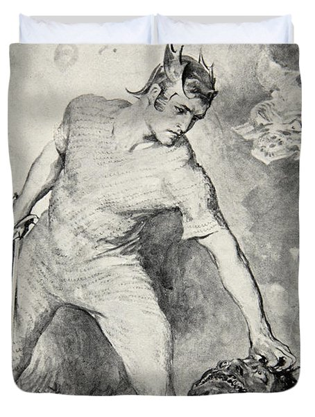 Beowulf Shears Off The Head Of Grendel Duvet Cover by John Henry Frederick Bacon