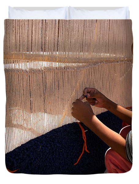 Berber Girl Working On Traditional Berber Rug Ait Benhaddou Southern Morocco Duvet Cover by Ralph A  Ledergerber-Photography
