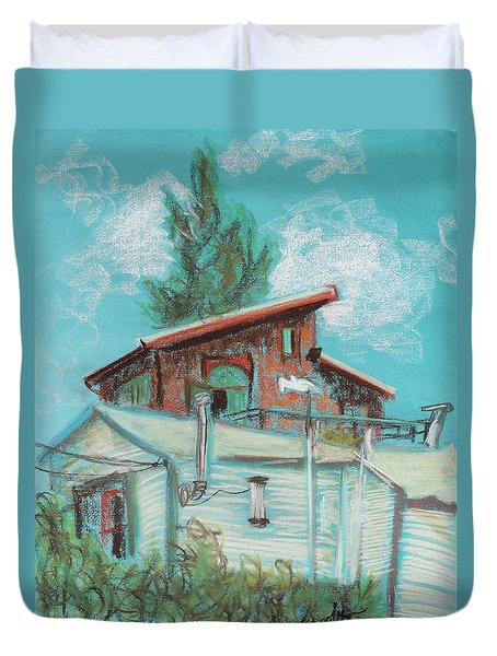 Berkeley Neighbor Houses On A Sunny Day Duvet Cover by Asha Carolyn Young