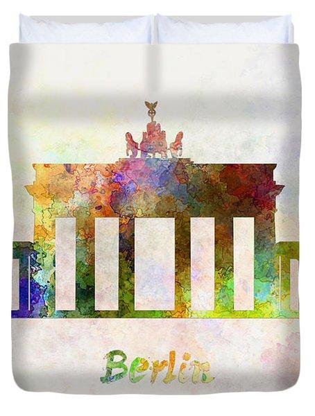 Berlin Landmark Brandenburg Gate In Watercolor Duvet Cover by Pablo Romero