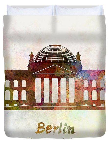 Berlin Landmark The Reichstag In Watercolor Duvet Cover by Pablo Romero