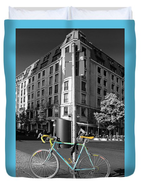 Berlin Street View With Bianchi Bike Duvet Cover