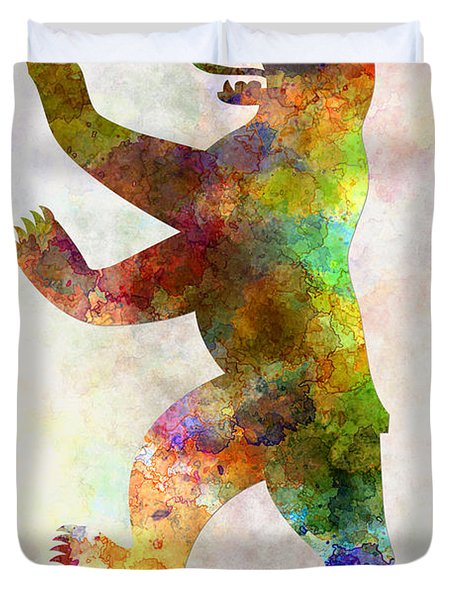 Berlin Symbol In Watercolor Duvet Cover by Pablo Romero